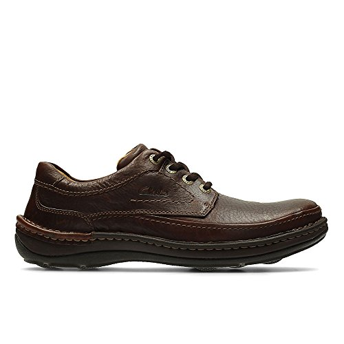 Clarks Nature Three 20339005 - Zapatos casual de cuero nobuck para hombre, color marrón (Mahogany Leather), talla 42
