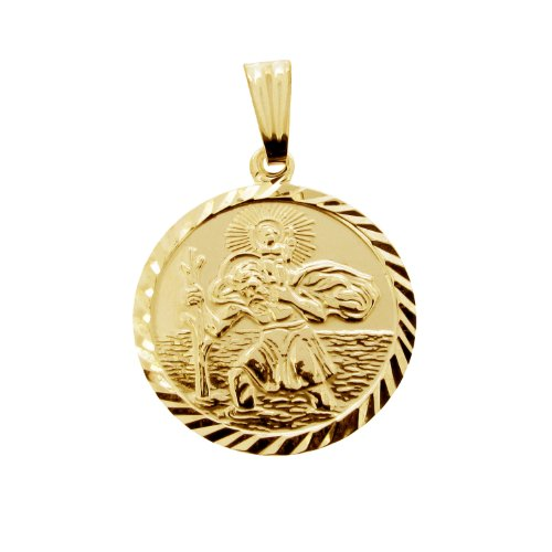 Personalised With Your Engraving 9ct Yellow Gold Plated on 0.925 Sterling Silver Round Diamond Cut 19mm St Christopher Pendant In Presentation Gift Box