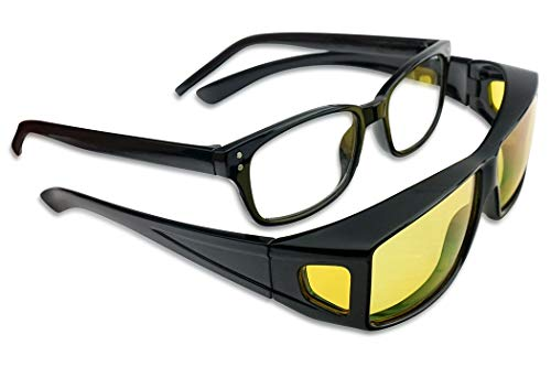 Black Wrap Around Fit Over Sunglasses w/Yellow Polarized HD Night Vision Lenses