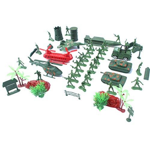 52 stks 4 cm kleine soldaat pak militaire Tweede Wereldoorlog soldaat sandbox tank vliegtuigen accessoires model plastic speelgoed