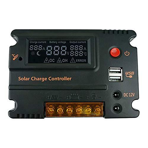 KKmoon 20A Solar Ladegerät Controller PWM Solar Laderegler LCD Solar Panel Batterie Intelligente Regler mit Dual USB Port Display 12V/24V Auto Schalter Batterieregler