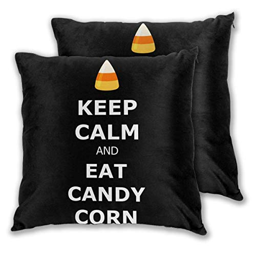 Lewiuzr Square Throw Kissenbezüge, Eat Candy Corn 2er Pack Dekorative Kissenbezüge Kissenbezüge für Sofa Schlafzimmer Auto 40X40 cm