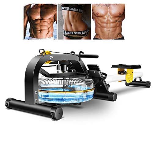 HUIGE Premium Wasser-Rudergerät Wasserrudergerät Ruderbank 120 cm Lange Doppel-Gleitbahn, Wasserwiderstand, Trainingscomputer Mit LCD-Display