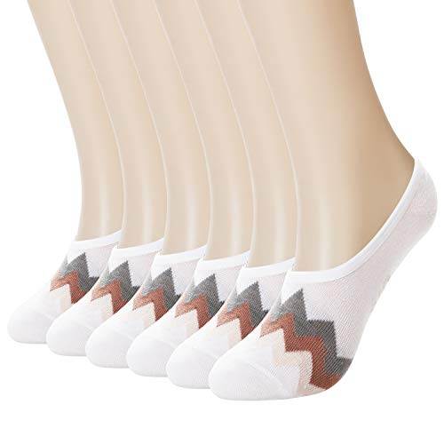 +MD 6 Pack No Show Liner-sokken voor dames Bamboe onzichtbare sokken met antislip voor flats, instappers, bootschoenen