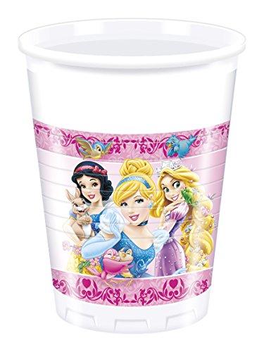Disney 200 ML en Plastique Princesse et Animaux Cups, Lot de 8