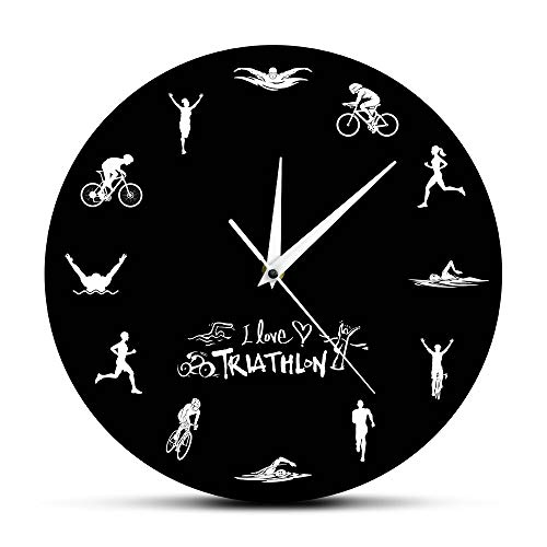 Eld 30cm Natación Bicicleta Ciclismo Correr Deportes Decoración del hogar Triatlón Reloj de Pared Moderno Triatleta Reloj de Pared Reloj Triatlón Fans Regalo Día de la Madre Regalo Arte de Pared