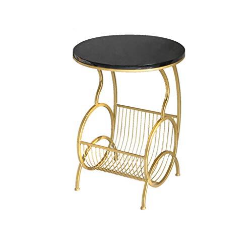 Side table-Q Mesa Tabla Cubierta Magazine, con el Metal de Almacenamiento en Rack de mármol Artificial Cierre Redondo Mesa Lateral for la Sala de Estar Salón Oficina Mesa Mesa de negociación