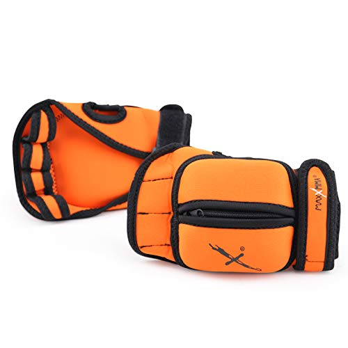 MaxxMMA Adjustable Weighted Gloves, 2 lb. Set - Removable Weight (2 x 0.5 lb. Each Glove) for Sculpting MMA Kickboxing Cardio Aerobics Hand Speed Coordination Shoulder Strength (Orange)