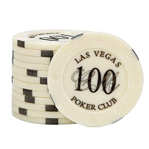 Juego de la Viruta Fichas de 5g, Fichas de Casino de Plástico con Denominaciones para Reuniones Familiares y Juegos de Entretenimiento, Paquete de 100