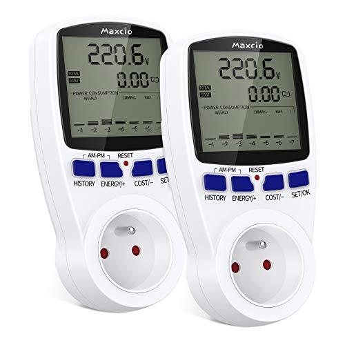 Compteur de Consommation Électrique avec Double Taux, Maxcio Prise Compteur d'Énergie avec Écran LCD Protection contre les Surcharges Consommation d'Énergie Mètre Wattmètre 3680W MAX 2 Packs