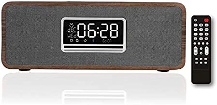 KEiiD Boombox CD Player with Speakers, Wooden Desktop Stereo System with Clock Bleutooth FM Radio USB TF AUX Headphone Jack Sleep Timer