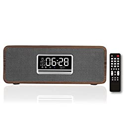 powerful KEiiD boombox CD player, with speakers, wooden table stereo, blues clock FM radio …