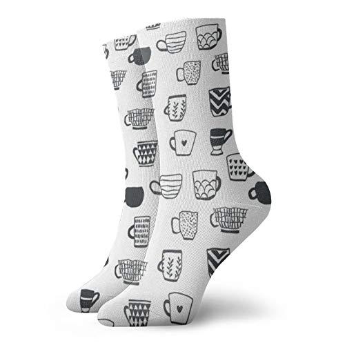 Negro y Blanco Tazas De Ocio Deporte Calcetines Cortos 30cm/11.8inch Adecuado Para Hombres Mujeres Regalo Calcetines