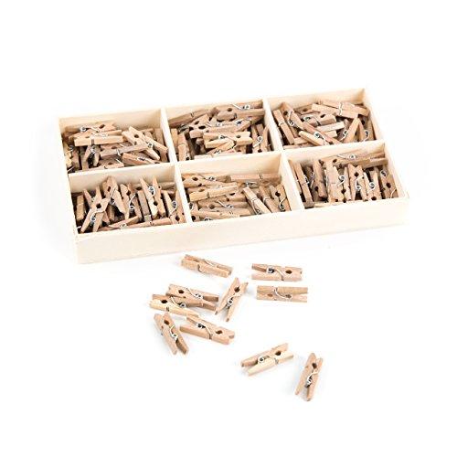 Logbuch-Verlag 135 mini wasknijpers natuur hout BRUIN mini-wasknijpers 2,5 cm decoratieve klemmen clips houten klemmen met doos knutselen decoreren fotohouder