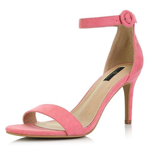 DailyShoes Damen Stilettos mit offenen Zehen Pumpe Knöchelriemen Kleid High Heel Sandalen, Violett (Mauve Suede), 37.5 EU