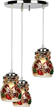 Nmii Multicolor Dome Shape Antique Design Ceiling Lamp Set Of Three Lamp Hanging In One Fitting Decorative Light