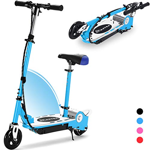 MAXTRA Upgraded E120 Adjustable Handlebar and Seat Folding Electric Scooter with Removable Seat for Kids Ages 6-12, 155LBS Max Weight Capacity Motorized Scooters, up to 7mph (Blue)