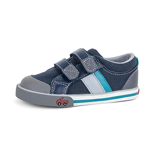 See Kai Run, Boy's Russell Casual Sneaker for Toddlers and Kids, Navy/Teal, 8