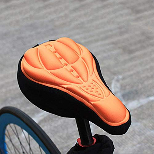 Zipsoft Bike Seat Cover Waterproof Rain Padded Comfortable 3D Soft Comfort Cycling Peloton Cushion Wide Bicycle Silicone Outdoor Men Sports (Orange)