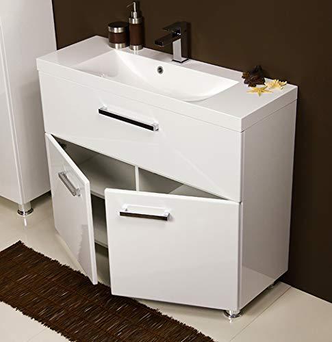 Quentis Badmöbel Tango, bodenstehend, Breite 100 cm, 2-teilig, weiß glänzend, Waschbecken mit Unterschrank, der Waschbeckenunterschrank wird montiert geliefert
