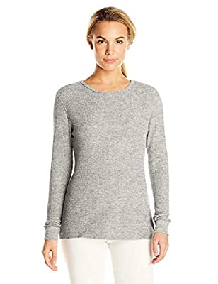 Fruit of the Loom Women's Soft Waffle Thermal Underwear Top, Medium Grey Heather, Large