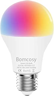 Smart Light Bulb RGB CCT WiFi Led Bulb E26 A19 7W 600LM Dimmable Multicolored Lights Compatible with Alexa and Google Home No Hub Required 60W Equivalent 1 Pack