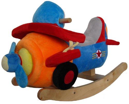 Sweety Toys - Dondolo a forma di aeroplano, in morbido peluche, con 4 effetti sonori, robusto