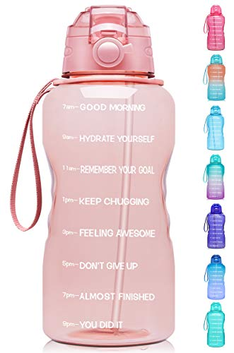 Giotto Large 1 Gallon/128oz Motivational Water Bottle with Time Marker & Straw,Leakproof Tritan BPA Free Water Jug,Ensure You Drink Enough Water Daily for Fitness,Gym and Outdoor Activity-Light Pink