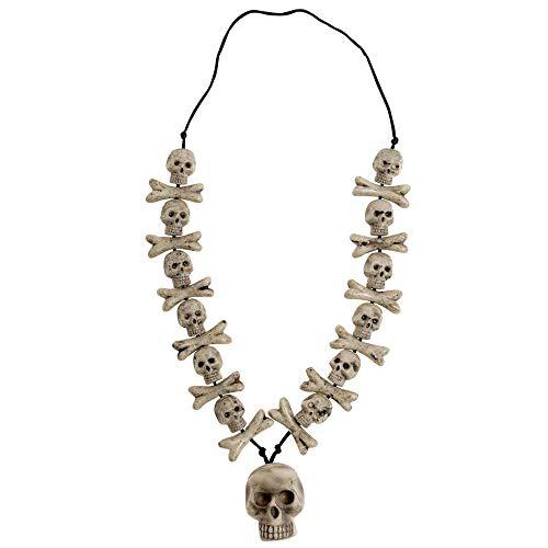 Widmann 8597N - Halskette mit Totenkopfdekor, 70cm, Kette, Schmuckstück, Accessoire, Zubehör, Skelette, Totenköpfe, Gothik, Halloween, Motto Party, Karneval