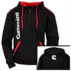 Scorching red accents heat up black fleece on this instant winter favorite. Warm options include a quarter-zip front, hood, front kangaroo pockets, and ribbed waist/cuffs. 65/35 low-pill poly/cotton fleece. Black/Red. Screen printed vertical Cummins ...