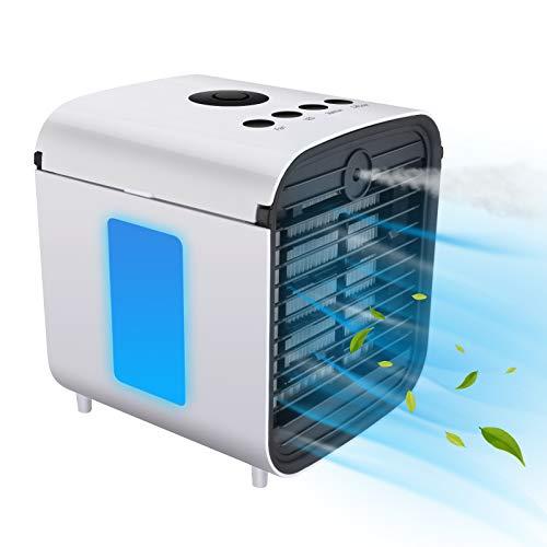 4 In 1 Mobile Klimageräte, HISOME Persönliche Klimaanlage, Luftbefeuchter, Luftreiniger und Aromazerstäuber, USB Air Cooler mit 3 Kühlstufen, 7 Farben LED, Tragbarer Luftkühler für Heim, Büro