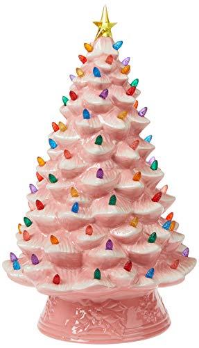 Nostalgic Pink Ceramic Tabletop Christmas Tree