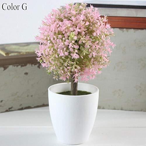 HTRN Künstliche Deko Blumen Unechte Blumen Deko 1 Satz Mini Gras Künstliche Pflanze Ball Bonsai Simulation Dekorative Künstliche Blumen Gefälschte Grüne Topfpflanzen Ornamente Wohnkultur-G