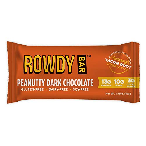 Rowdy Bar Prebiotic Protein Bar | 11g Protein Snack | Low Net Carb High Fiber | Gluten Free Chewy Bars with Yacon | Peanutty Dark Chocolate, 12 Pack