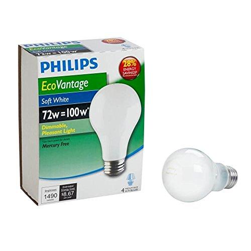 Philips ecovantage 72-watt A19suave blanco foco, intensidad regulable (426049)