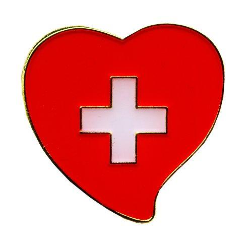 Schweiz Herz Switzerland Heart Bern Symbol Metall Button Pin Anstecker 0707