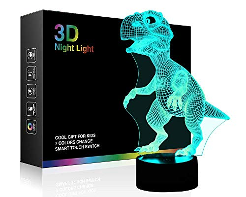 3D Illusion Night Light for Kids Baby Dinosaur 3D Lamp 7 LED Colors Changing Touch Table Desk Lamps Bedroom Decorative Lighting Cool Toys Gifts Birthday Holiday Xmas for Nursery Toddler Friends