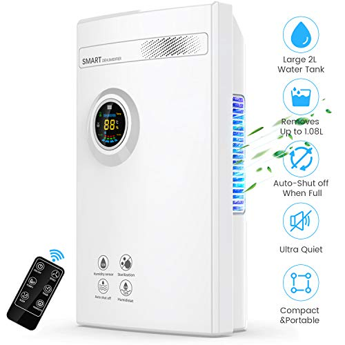 Dehumidifier for Home, DUSASA 2000ML (68oz) Portable Quiet Dehumidifiers 323 Sq.Ft Small Dehumidifier for Basement, Bedroom, Bathroom, Garage, RV, Closet, Caravan (White)…