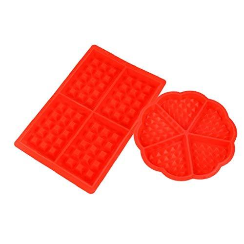 Lot de 2 Moule à Gaufres Plaques Silicone Anti-adhésif Moule à biscuit Outil Cuisson de Cuisine Forme de coeur forme carrée
