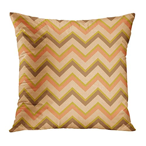 Throw Pillow Cover Brown Border Chevron Pattern en Retro Colors to Albums Swatches of File Orange Sewing Craft Geometric Home Decor Square Cushion Case (Two Sides) 22 x 22 Inch
