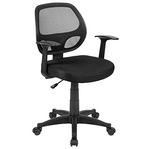 Flash Furniture Mid-Back Black Mesh Swivel Ergonomic Task Office Chair with T-Arms - Desk Chair