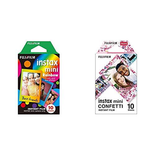 instax Rainbow Mini Film, 10 Shot Pack & Mini Film Confetti, 10 Shot Pack