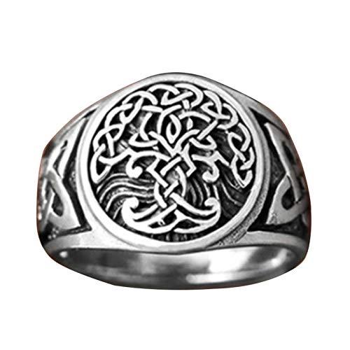 EzzySo Árbol del Anillo de Vida, Estadounidense Viking Joyas de Anillo de aleación Celta (2 PCS),8