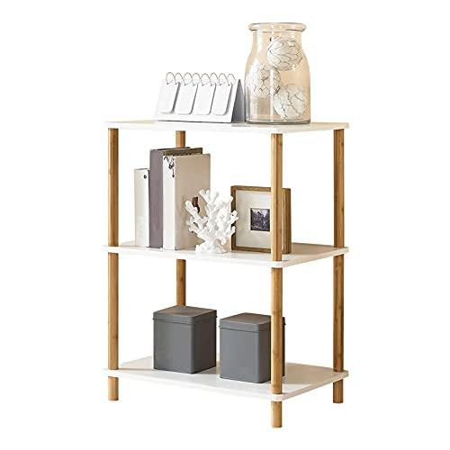 Soporte de Impresora Soporte de impresora de piso de 3 niveles, soporte de fax, con almacenamiento de madera de escritorio, soporte de impresora soporte de escritorio, suministros de oficina compacto