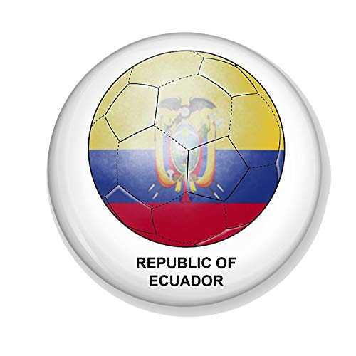 Gifts & Gadgets Co. Ecuador Flag On Football Button Badge 77 mm Round Lapel...