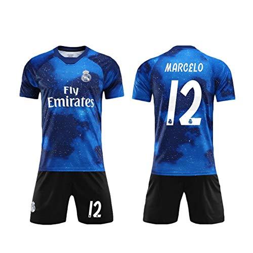 Fußball Trikot Real Madrid Club De Fútbol 20/21 Home/Away Game No.12 Marcelo Vieira Da Silva Junior T-Shirt Und Shorts Für Unisex Jugendliche Jungen,Blau,S