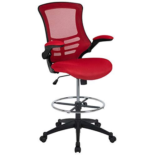 Flash Furniture Mid-Back Red Mesh Ergonomic Drafting Chair with Adjustable Foot Ring and Flip-Up Arms chair gaming red