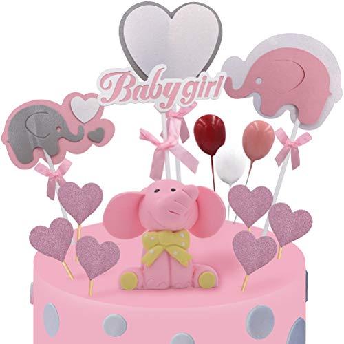 WENTS Tortendeko Babyparty Mädchen Elefante Baby Girl Luftballon Sterne Kuchendeko Tortendekoration Taufe Baby Shower