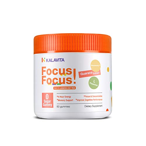 KalaVita Sugar Free Focus Gummy - Stay on Task,Brain Booster Supplement for Concentration, Energy, Memory Support, Lemon Iced Tea 0 Sugar Vegan, Guarana Extract Neumentix™ L-Theanine B12 50 Count