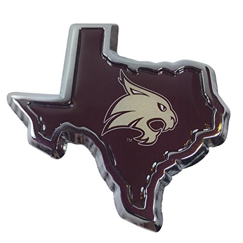 Texas State University Bobcats METAL Auto Emblem (state shaped)